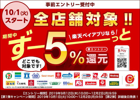 【楽天ペイ】10月より全店舗対象で5%還元キャンペーンを実施【要エントリー】 楽天カード設定なら還元率が更に1%上乗せ